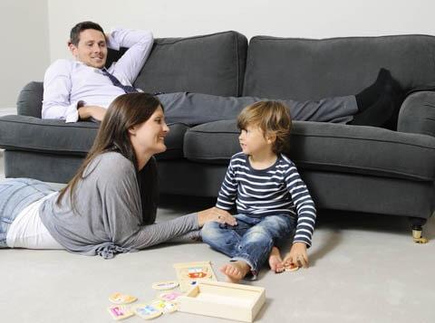 family enjoying clean house in detroit
